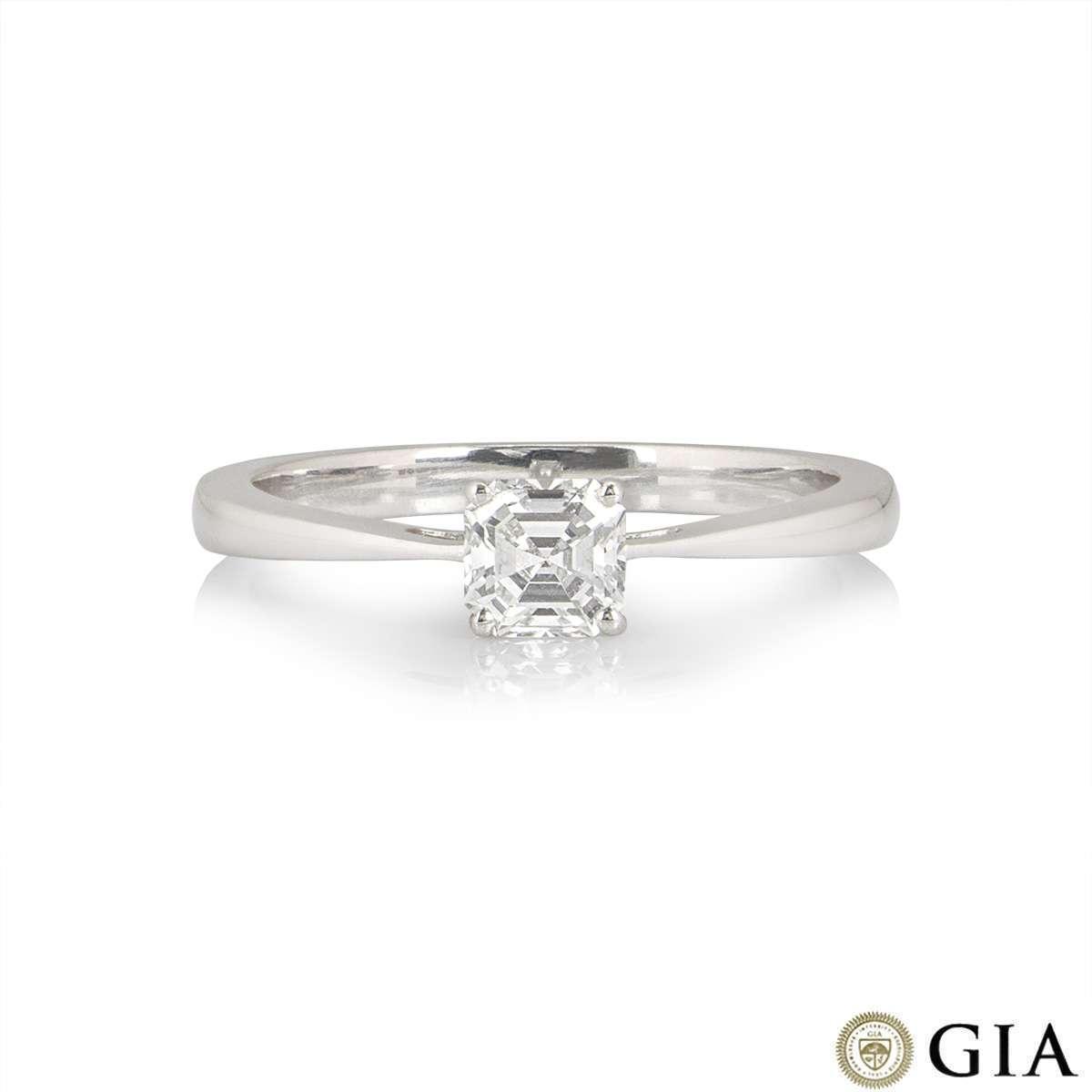 18k White Gold Asscher Cut Diamond Ring 0.51ct H/IF RD1018A